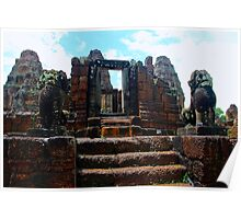 Glowing Sunlight on East Mebon II - Angkor, Cambodia. Poster