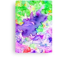 Watercolor Purple & Green Canvas Print