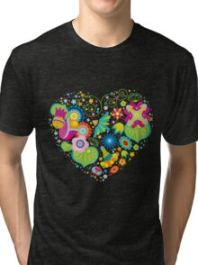 Heart flower ornament Tri-blend T-Shirt