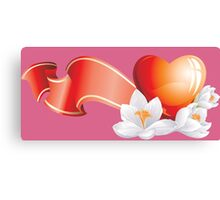 Passionate heart with flowers Canvas Print