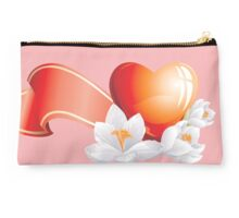 Passionate heart with flowers Studio Pouch