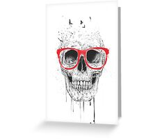 Skull with red glasses Greeting Card