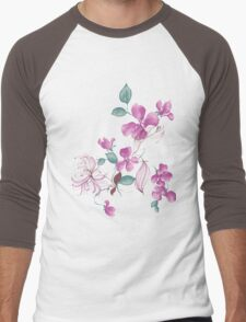 Cute purple flowers Men's Baseball ¾ T-Shirt