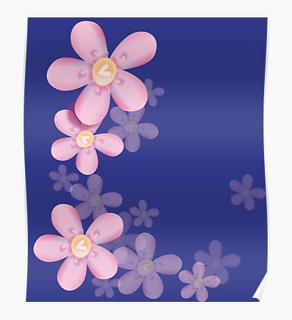 Cute pink flowers Poster
