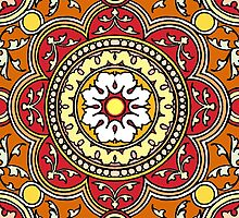 RedSun Rays Mandala Lotus Flower  by wildwildwest