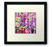 Vintage Bright Chic Floral Pattern Purple Wood Framed Print