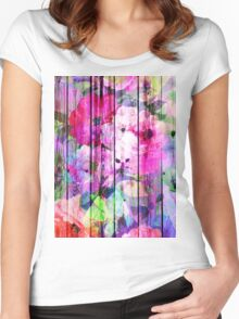 Vintage Bright Chic Floral Pattern Purple Wood Women's Fitted Scoop T-Shirt