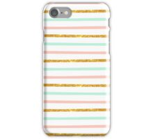 Modern Girly Pink Teal Gold Glitter Stripe Pattern iPhone Case/Skin