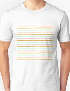 Modern Girly Pink Teal Gold Glitter Stripe Pattern Unisex T-Shirt