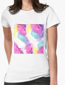 Girly bright pastel watercolor brush strokes Womens Fitted T-Shirt