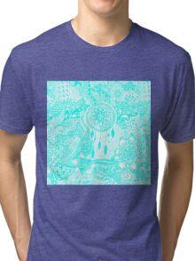 Hipster turquoise dreamcatcher floral doodles Tri-blend T-Shirt