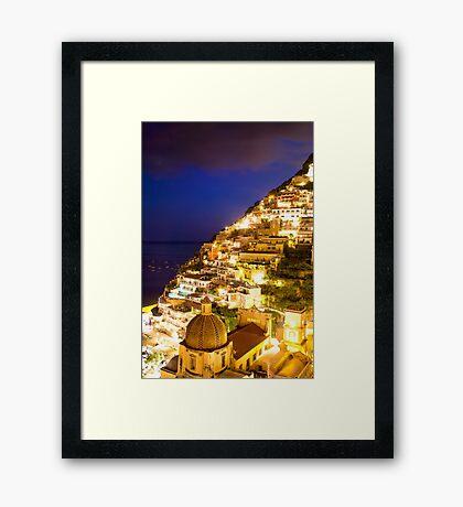 Positano Italy At Night Framed Print