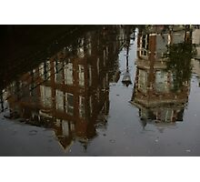 Starting to Rain - Amsterdam Canal Houses Reflected Photographic Print
