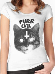 Purr Evil Cat Women's Fitted Scoop T-Shirt