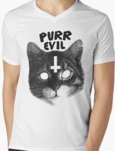 Purr Evil Cat Mens V-Neck T-Shirt