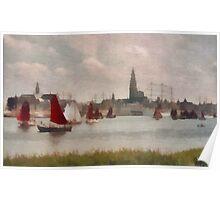 Sailboats in Antwerp - Belgium Poster