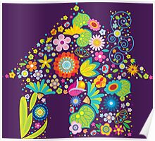 Floral colorful abstract  Poster