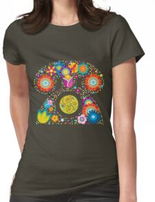 Abstract floral phone Womens Fitted T-Shirt