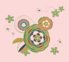 Green and orange flowers with bees One Piece - Long Sleeve