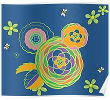Green and orange flowers with bees Poster