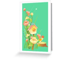 Yellow and peachy watercolor flowers Greeting Card
