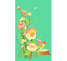 Yellow and peachy watercolor flowers Photographic Print