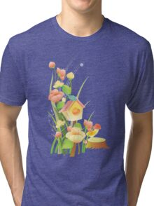 Yellow and peachy watercolor flowers Tri-blend T-Shirt