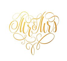 Mr and Mrs newlywed couple monogram by blessedprint