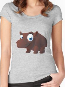 Funny brown hippo Women's Fitted Scoop T-Shirt