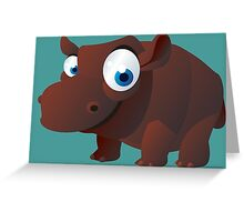 Funny brown hippo Greeting Card