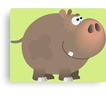 Smiling plump hippo Canvas Print