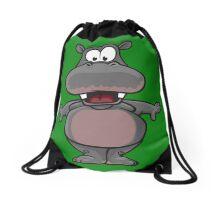 Funny cartoon hippo Drawstring Bag