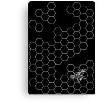 Beehive and Bee Black Canvas Print
