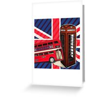 union jack london bus vintage red telephone booth Greeting Card