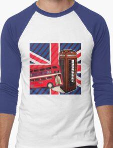 union jack london bus vintage red telephone booth Men's Baseball ¾ T-Shirt