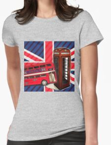 union jack london bus vintage red telephone booth Womens Fitted T-Shirt