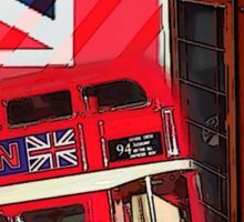 union jack london bus vintage red telephone booth Sticker