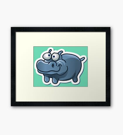 Silly funny hippo Framed Print