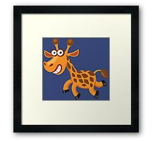 Frightened funny giraffe Framed Print