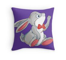 Cute rabbit with bow Throw Pillow