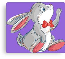 Cute rabbit with bow Canvas Print