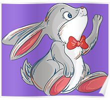 Cute rabbit with bow Poster
