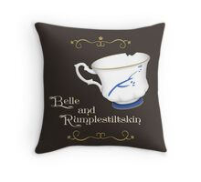 Belle and Rumplestiltskin's cup Throw Pillow