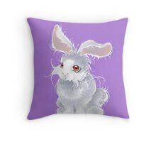 Fuzzy magic white rabbit Throw Pillow