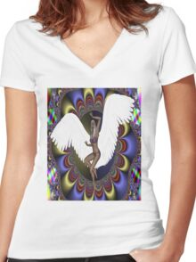 Flight into Chaos Women's Fitted V-Neck T-Shirt