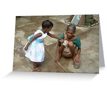 A child shall lead them, India Greeting Card