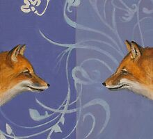 Foxes Meeting/Foxes Mirrored by Kaetlyn Wilcox