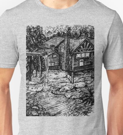 backwoods cabin and waterfall Unisex T-Shirt