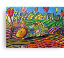 301 - PATCHWORK BUNNY - DAVE EDWARDS - COLOURED PENCILS & INK - 2010 Canvas Print