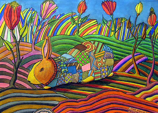 301 - PATCHWORK BUNNY - DAVE EDWARDS - COLOURED PENCILS & INK - 2010 by BLYTHART